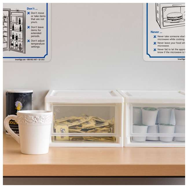 587652-4PK IRIS USA 6 Quart Small Plastic Stacking Storage Bin Drawer 4 Pack, White 3