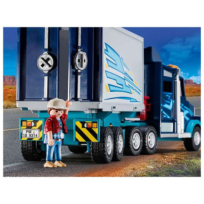 9314 Playmobil 9314 Big Rig w/ Action Figure and Semi Truck & Trailer Play Set, Blue 4