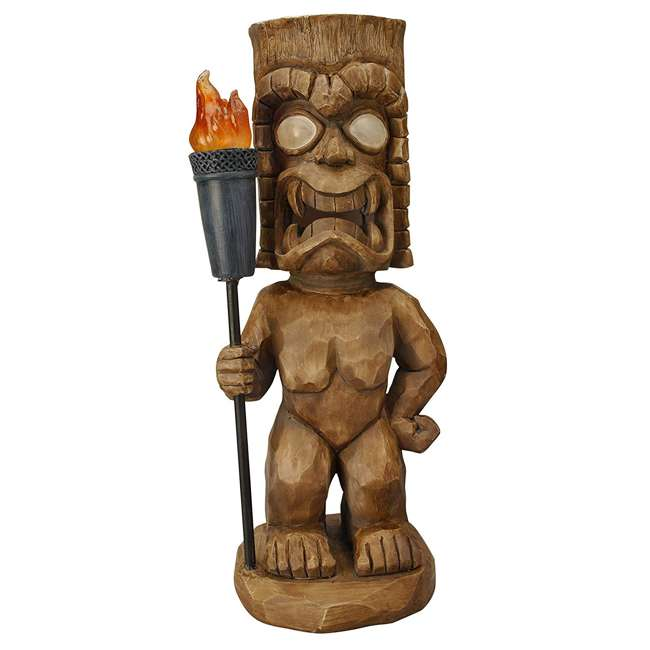3 x 95960 Moonrays Outdoor 18.5 Inch Tiki Warrior Lawn Statue w/ Solar LED Light (3 Pack) 1
