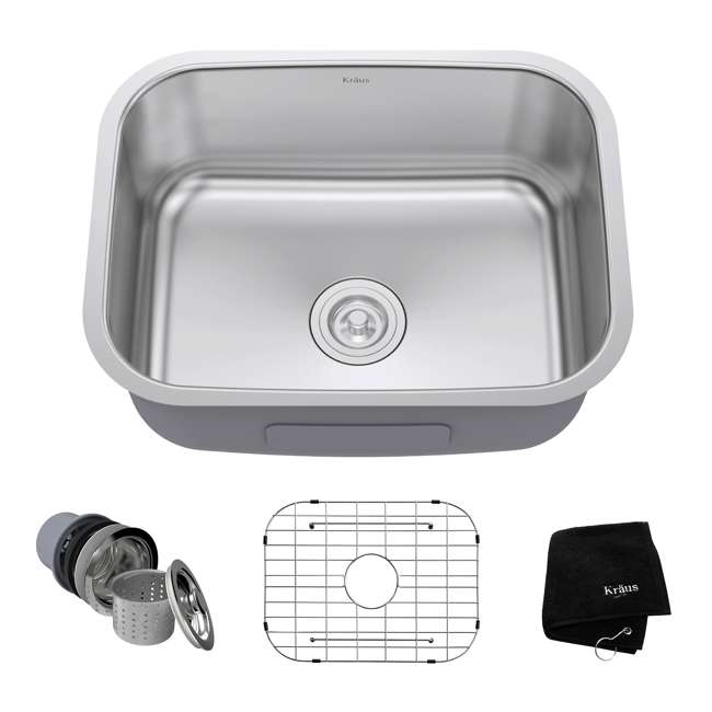KBU12 Kraus 23-Inch Rounded Undermount Stainless Steel Kitchen Sink (2 Pack) 1