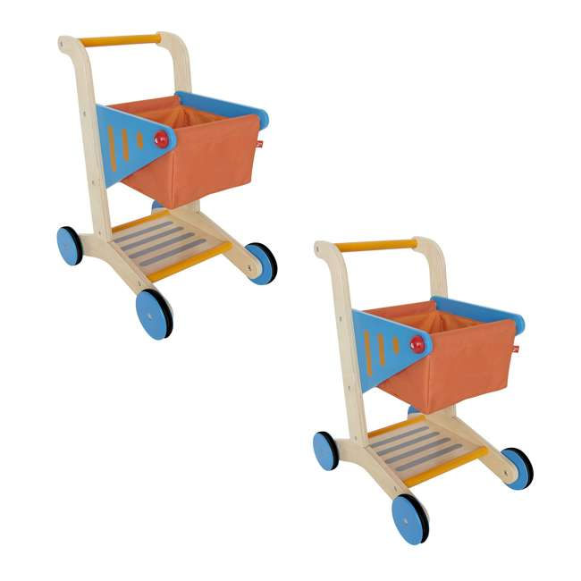 Hape Mini Wooden Grocery Toy Shopping Cart 2 Pack