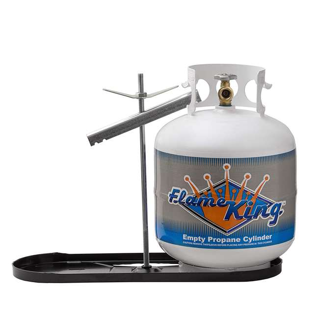 KT20MNT Flame King KT20MNT Powder Coated Dual 20 Pound Propane Tank Steel Rack for RVs