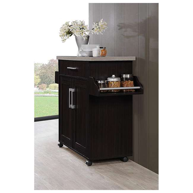 HIK78 CHOC-GREY Hodedah Wheeled Kitchen Island with Spice Rack and Towel Holder, Chocolate Gray 2