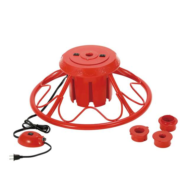 GX1623U22F26 Home Heritage Electric Rotating Stand Base for Artificial Christmas Trees, Red