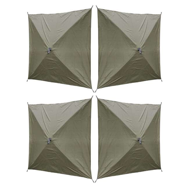 CLAM-TV-9870 + 2 x CLAM-WP-2PK-9896 Clam Quick-Set Traveler Shelter w/Wind Panels (4 Pack), Green 2