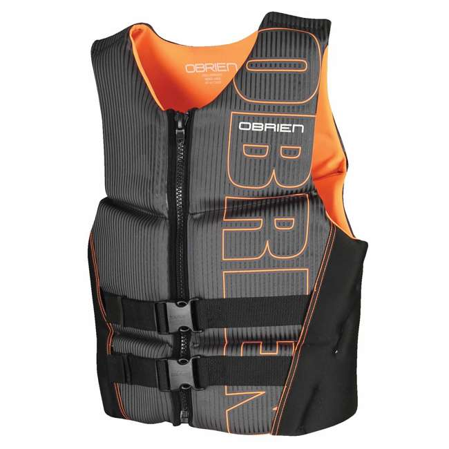 6 x 2161736-MW OBrien BioLite Series Men's Flex V Back Life Vest Size L, Black/Orange (6 Pack) 1