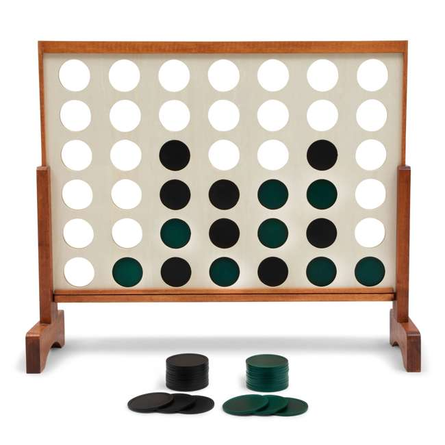 LG100Y19031 Lancaster Gaming Company Giant 4 In A Row Wooden Outdoor Gaming Set w/ Carry Bag 1
