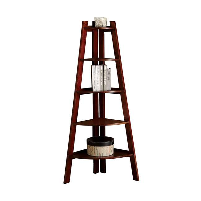 IDF-AC6214CH Furniture of America Lyss Contemporary 5 Tier Wooden Corner Ladder Shelf, Cherry