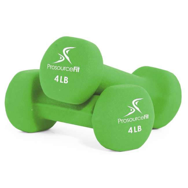 ps-1145-neo-lime ProsourceFit 4 Pound Iron Neoprene Coated Non Slip Dumbbell Weight Set, Lime
