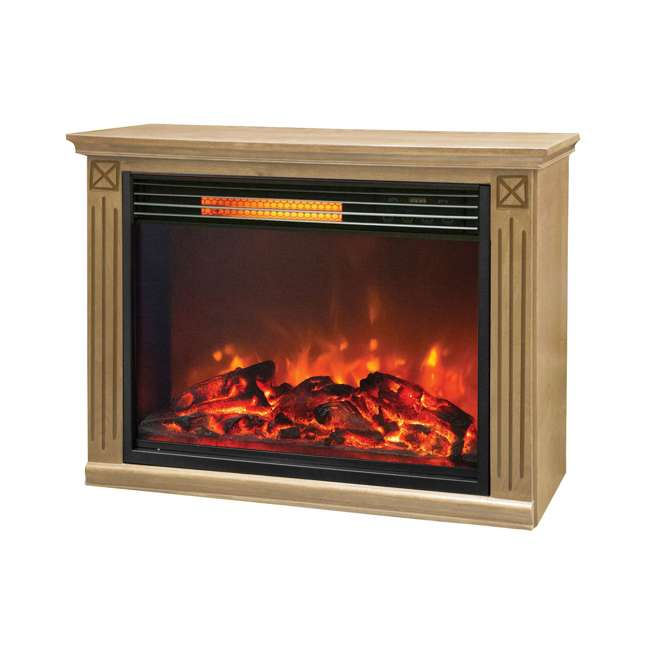 LS-ZCFP1062US Lifesmart Light Oak Infrared Fireplace w/ Remote (2 Pack) 2