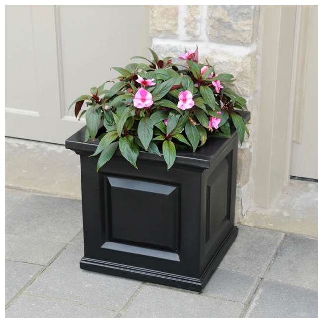 MO-5865-B Mayne Nantucket Large 16 In Square Plastic Outdoor Flower Pot Planter Box, Black 5