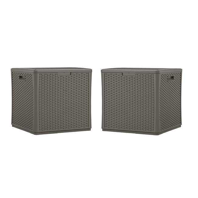 BMDB60ST Suncast 60 Gallon Resin Outdoor Patio Storage Cube Deck Box, Stoney (2 Pack)