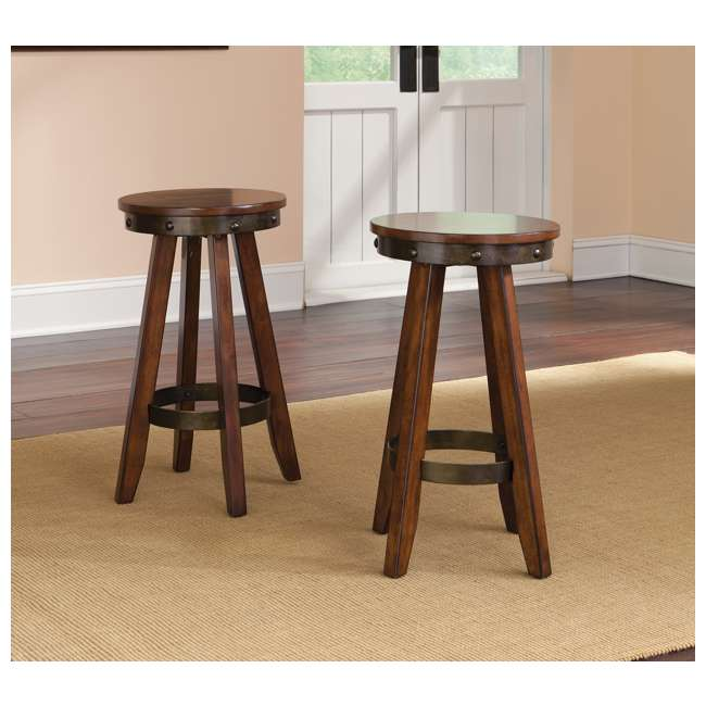 Magnificent 2 Sauder Furniture Carson Forge Backless Round Counter Short Links Chair Design For Home Short Linksinfo
