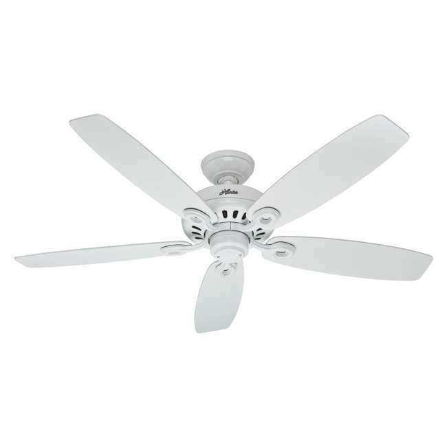 54108 Hunter Markham 52 Inch Indoor Ceiling Fan w/ 5 Blades and Pull Chain, Snow White
