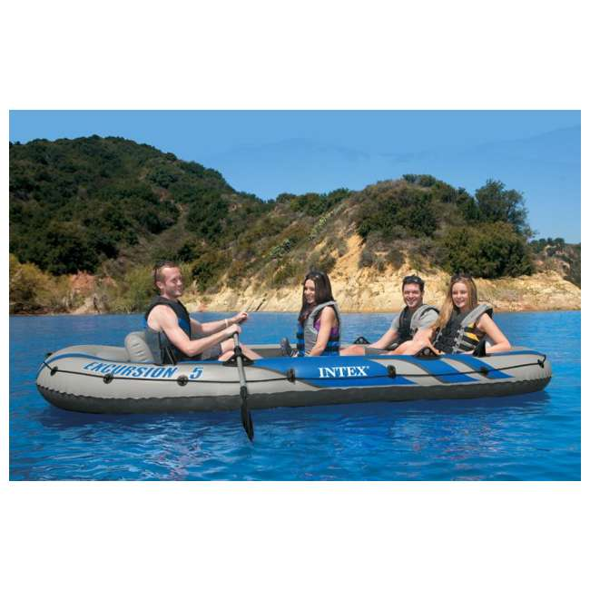 68325EP INTEX Excursion 5 Inflatable Rafting/Fishing Dinghy Boat Set (Used) (2 Pack) 4