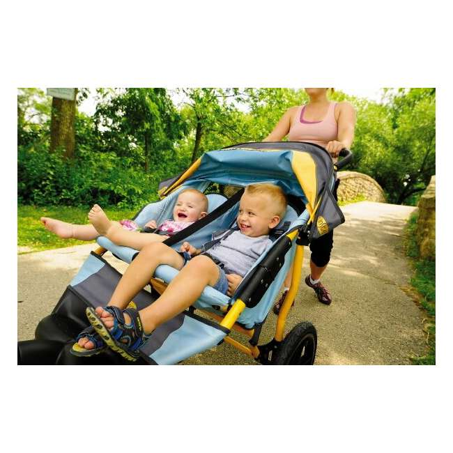 11-KS228 InStep Run Around 2 Double Jogging Stroller (Teal/Sunflower) 1