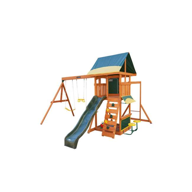 KDK-F23210C Kidkraft Brightside Wooden Cedar Discovery Swing Set/ Playset with Climbing Wall