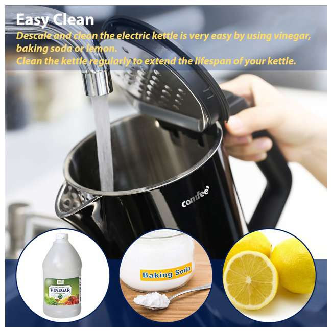MK-15H01A1B Comfee' Stainless Steel Double Wall Cool Touch Cordless Electric Kettle, Black 8