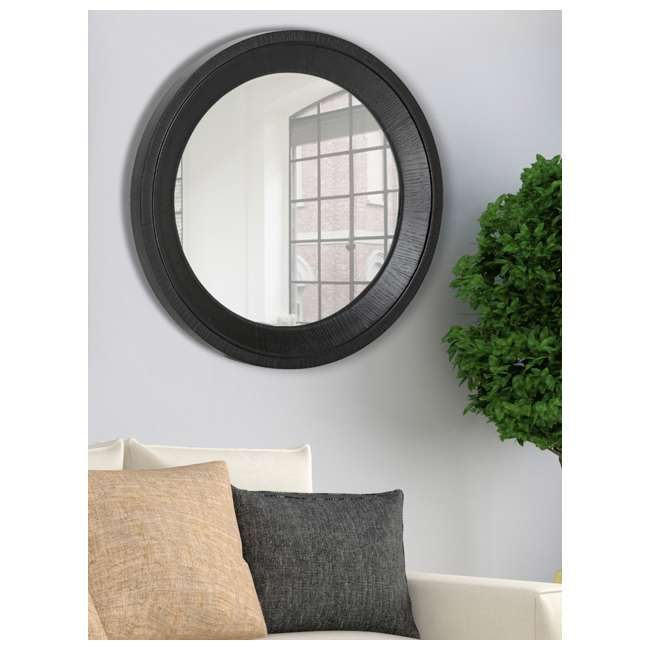 2543-P Majestic Mirror Black Round Wood Hanging Wall Mirror  1
