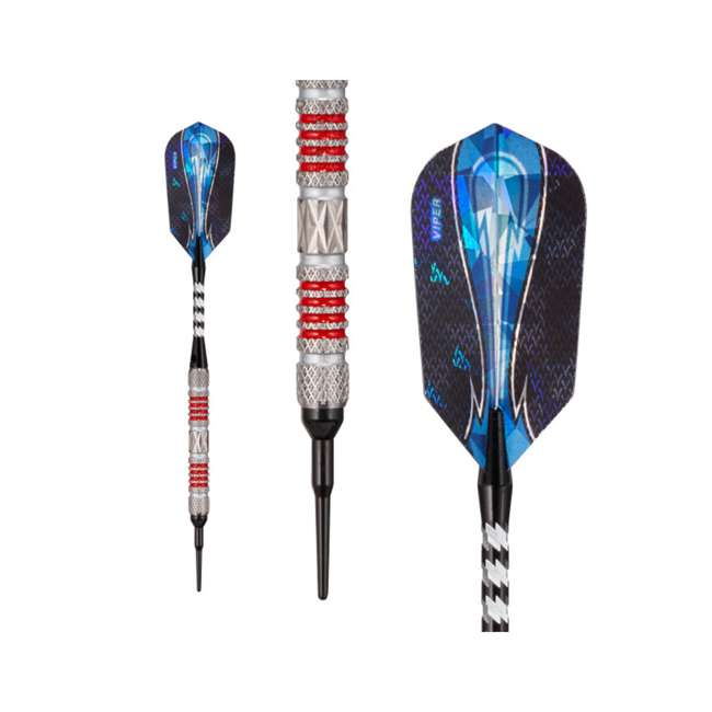21-3281-18 Viper Astro Tungsten Soft Tip Darts 18g with Travel Case, Red Rings 1