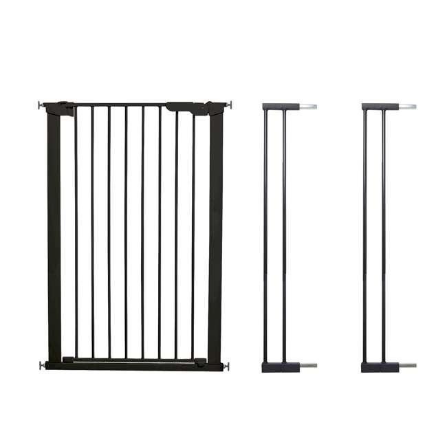 BBD-50916-2690 + BBD-5836-2600 BabyDan Scandinavian 31 Inch Pet Safety Gate & 2-Pack Gate Extensions, Black