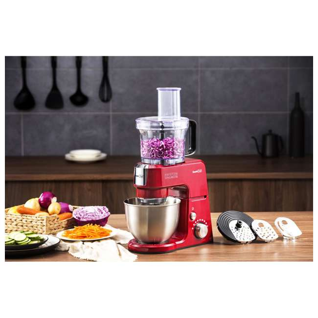 GM25R + GMFP Geek Chef GM25R 2.6 Quart 7 Speed Tilt Head Stand Mixer & Food Processor Chopper 6