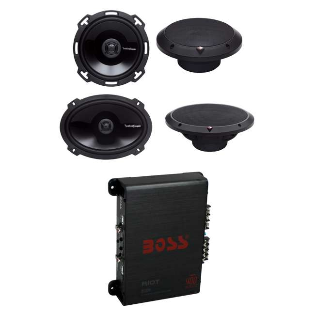 P165 + P1692 + R1004 2) Rockford Fosgate P165 6.5-Inch 110W + 2) 6x9-Inch 150W 2-Way Speakers + 400W Amp (Package)