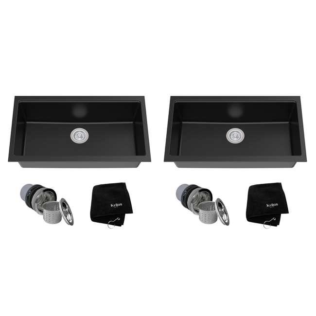 KGU-413B Kraus 31-Inch Rectangle Undermount Black Onyx Kitchen Sink (2 Pack)