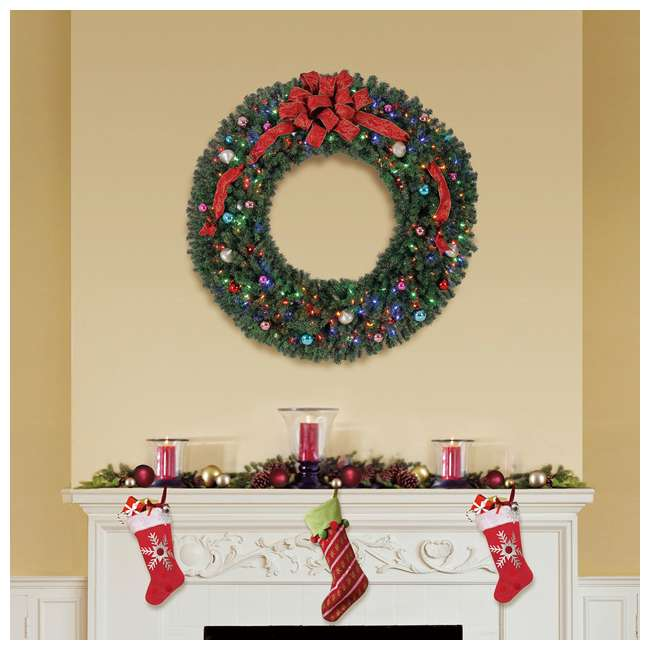GD5000CYKD00 Home Heritage 60 Inch 1180 Tip Christmas Wreath w/ 300 Color LED Lights (2 Pack) 6