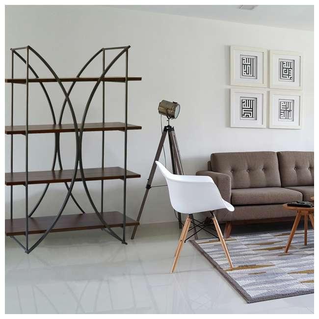 SC-SF24839 Abode 84 Elliptical Warehouse 4 Shelf Bookcase with Wood Shelves 2
