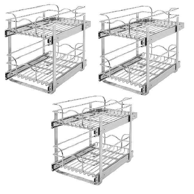 """3 x 5WB2-1522-CR Rev-A-Shelf 15"""" Wide 22"""" Deep Base Kitchen Cabinet 2 Tier Pull Out (3 Pack)"""