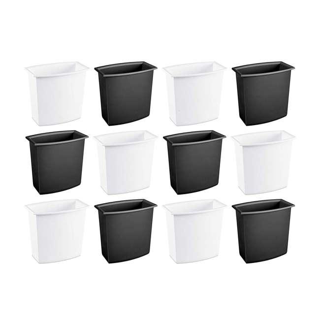 12 x 10220012  Sterilite 10220012 2-Gallon Rectangular Vanity Wastebasket, Black/White (12 Pack)
