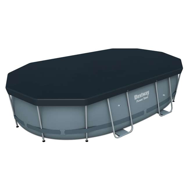 56655E-BW + 58422E-BW Bestway Power 16x10x3.5 Foot Above Ground Pool Set w/ Pump & Powercell Vacuum 3