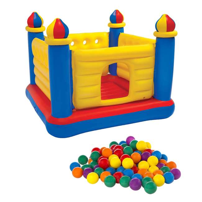 48259EP + 49600EP Intex Inflatable Jump-O-Lene Ball Pit Castle Bouncer with 100 Play Balls