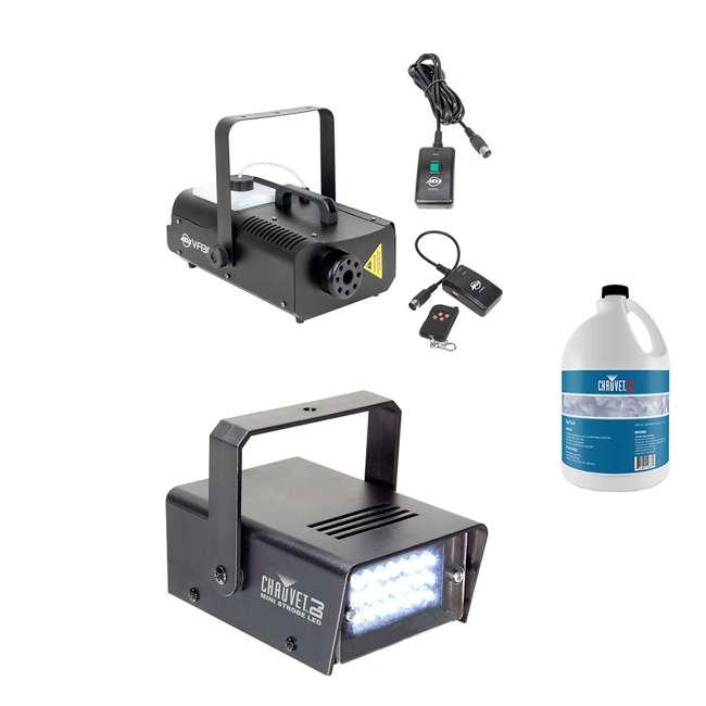 VF1300 + MINISTROBE-LED + FJU ADJ Fog Machine w/ Remote Controls, Mini Strobe Light Effect & Fog Fluid