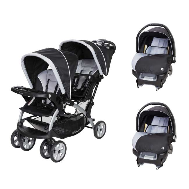 SS76B51A + 2 x CS79B51A Baby Trend Sit N Stand Tandem Stroller + Car Seats (2) Travel System, Stormy