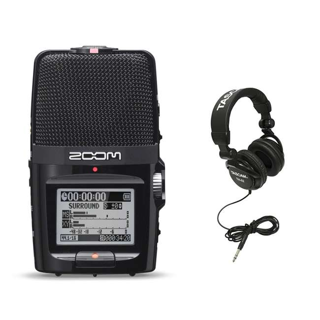 ZH2N + TH02-B Zoom Digital Audio Portable Hand Recorder with TASCAM Home & Studio Headphones