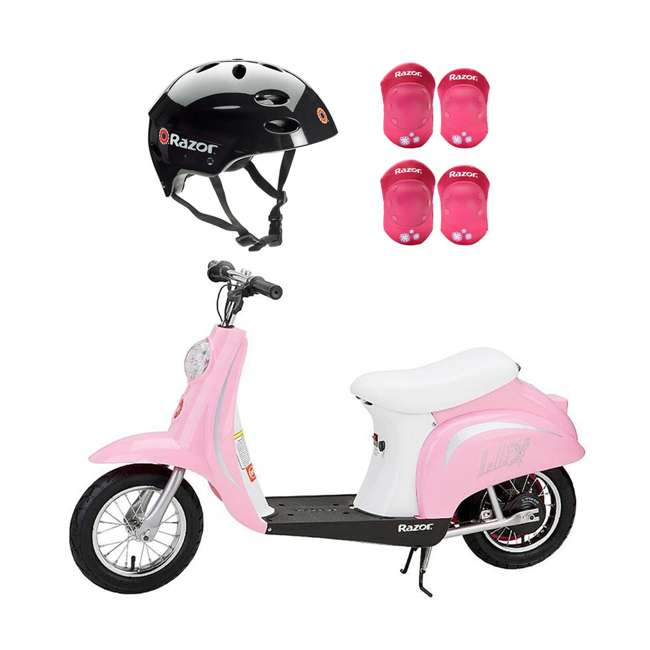 15130610 + 97778 + 96783 Razor Rechargeable Ride-on Scooter + Bicycle Helmet + Elbow & Knee Pad Set