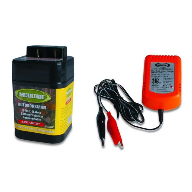MFHP12406 + MFA-13211 Moultrie 6 Volt Battery - Rechargeable Safety Feeder Battery + 6 Volt Battery Charger