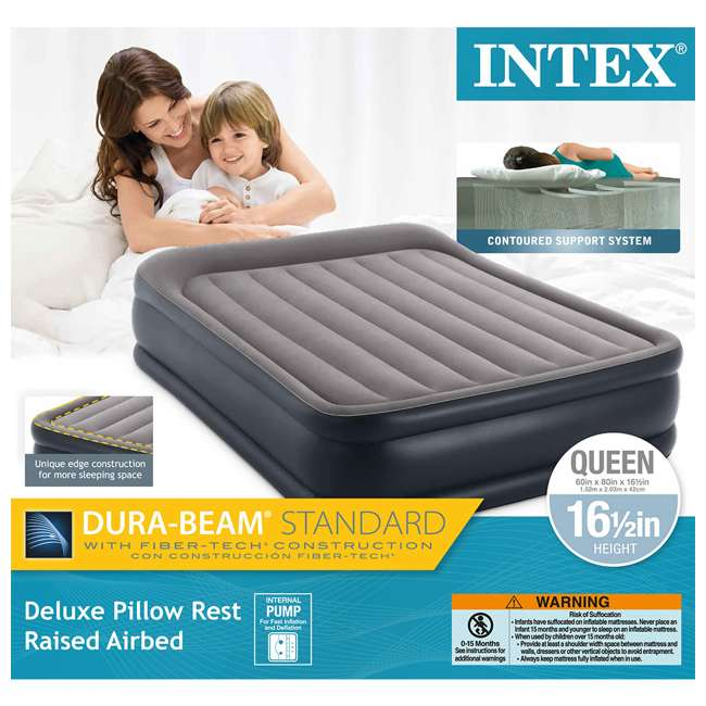 3 x 64135EP Intex Deluxe Raised Air Mattress w/ Built-In Pump, Queen (3 Pack) 9