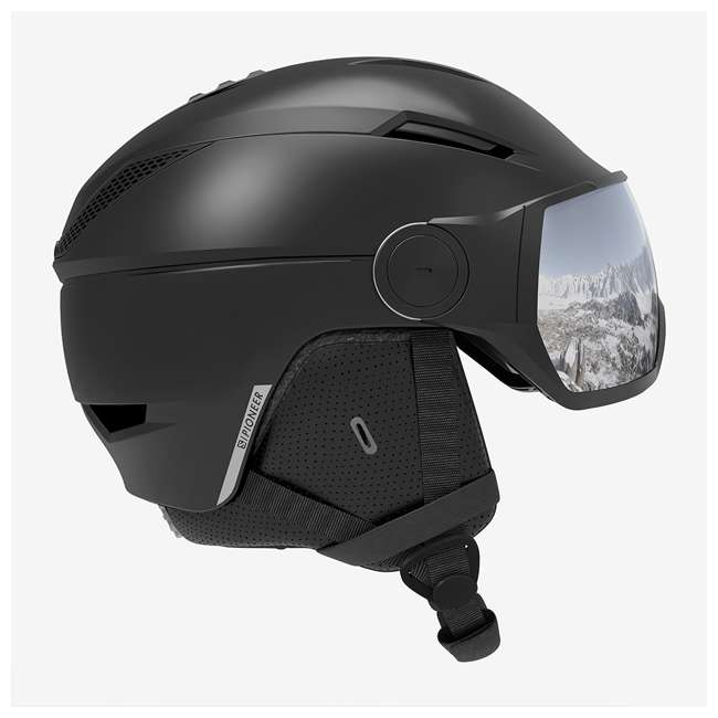 L40835656 Salomon Pioneer Black Light Snowboarding Skiing Helmet w/ Visor, Small (53-56)