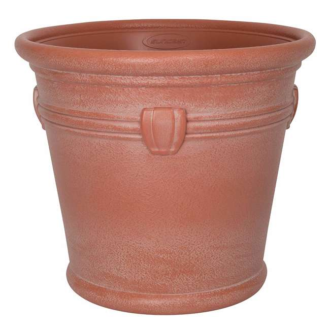 1820TCP4 Suncast Waterton 18 Inch Resin Round Decorative Flower Pot Planter (2 Pack) 1