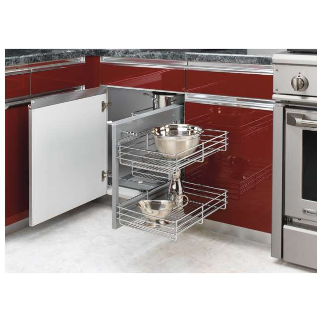 5PSP-15-CR Rev-A-Shelf 5PSP-15-CR 15 Inch Chrome Blind Corner Kitchen Cabinet Organizer 3