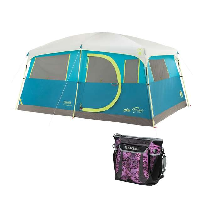 A-2000018088-G + ENGCB2-P1PO Coleman Tenaya Lake 8-Person Cabin Tent & 24 Can Backpack Cooler