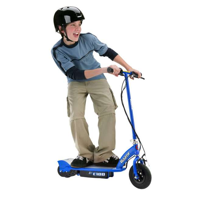 13111240 + 97778 + 96785 Razor E100 Electric Scooter (Blue) with Helmet, Elbow & Knee Pads 2
