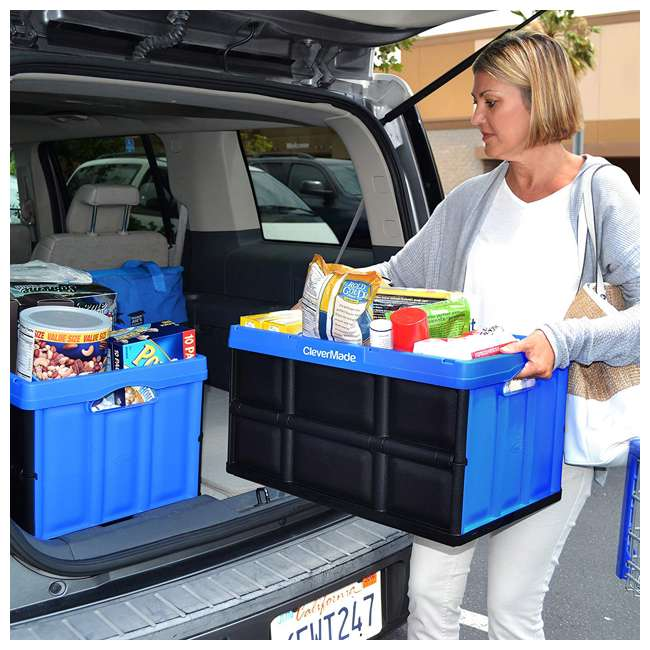 8031844-7033PK CleverMade Durable Stackable 62L Collapsible Storage Bins, Royal Blue (3-Pack) 4