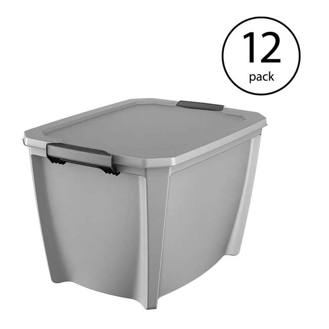 12 x T20GLSL Life Story Gray Latching Storage Tote, 20 Gallons (12 Pack)