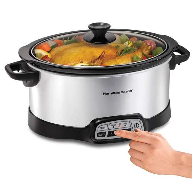 33473 + SLOWCOOKER175 Hamilton Beach Countertop 7 Qt Programmable Slow Cooker & 175 Recipe Cookbook 4