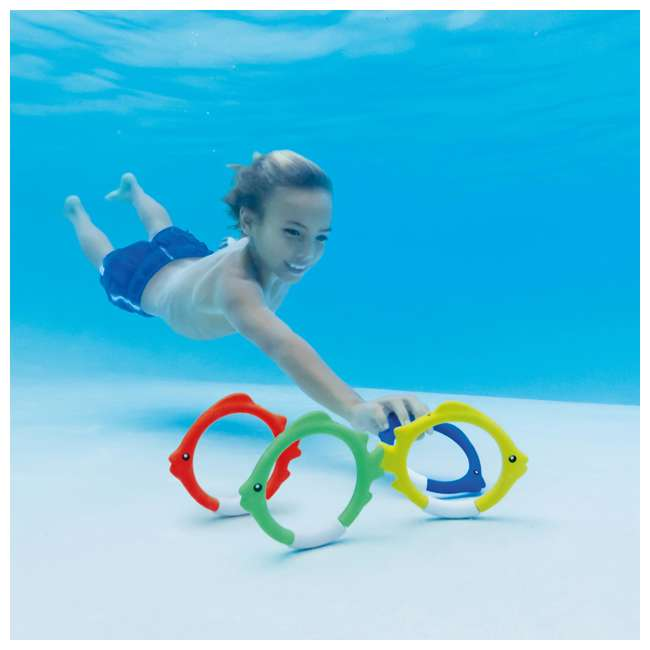 55507E Intex Diving Pool Kids Toy Play Underwater Fish Rings Sticks, 4 Pack (Open Box) 2