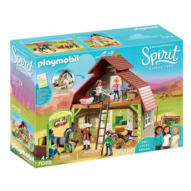 70118 Playmobil 70118 Barn with DreamWorks Lucky, Pru & Abigail Spirit Riding Play Set